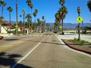 An empty street in Santa Barbara, spotted during a cycling trip through America.