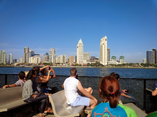From the boat looking at the skyline in San Diego