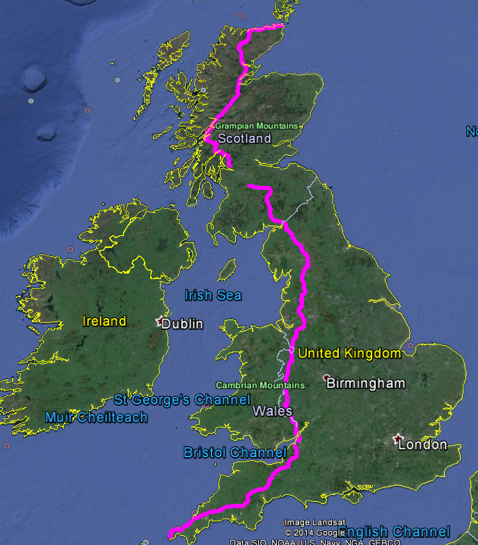 LEJOG end to end cycle map
