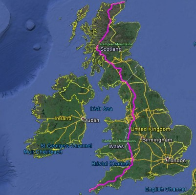 LEJOG map